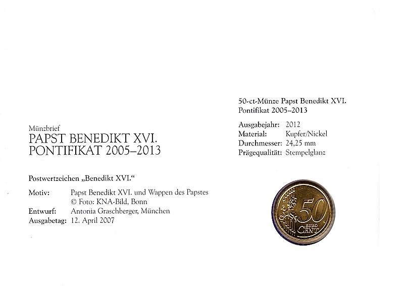 Numiscover With Coin Numisbrief Papst Benedikt Xvi Pontifikat