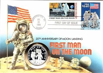 First Man on the Moon - 20th anniversary of moon landing - 1989